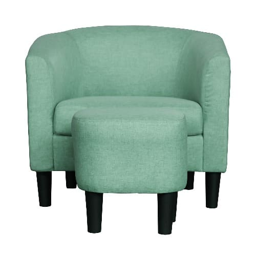 Terrific Barrel Style Accent Chair With Ottoman Green Machost Co Dining Chair Design Ideas Machostcouk