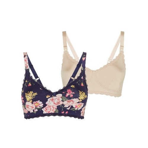 Floral Navy And Nude 2 Pack Maternity & Nursing Bras
