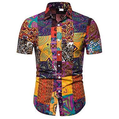 7d1c5d49f7c66e Men s Geometric Print Boho Shirt - Mu.