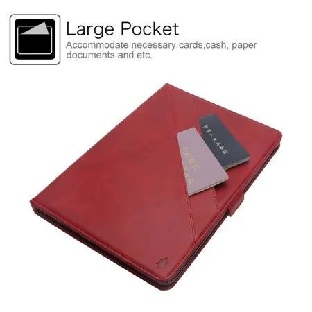 Leather Cards Holder Case With Apple Pencil Holder For iPad Pro 12.9 2018 - Red