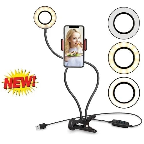 Selfie Ring Light With Phone Holder - 3 Different LED Light
