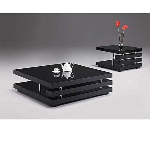 Center Table With Free Two Side Stool - Black.