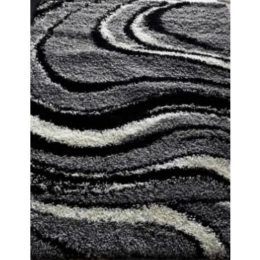 Wool Shaggy Rug - 4x6ft - Grey, Black & White Design