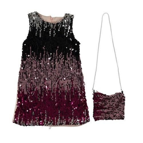 8046a88acfe Girl s Shine Dress With Long Hand Bag.