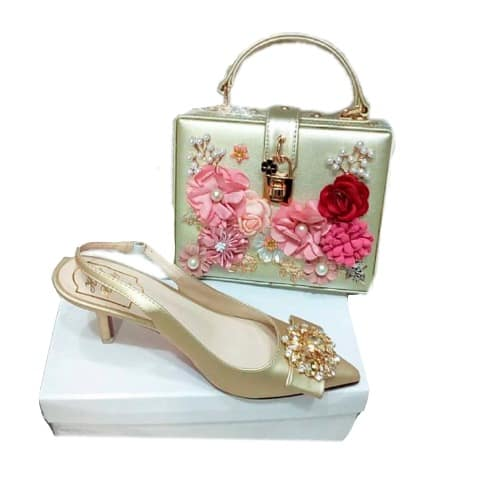 5834f32f4d Honey Beauty Bridal Kitten Heels Shoe With Matching Purse | Konga ...