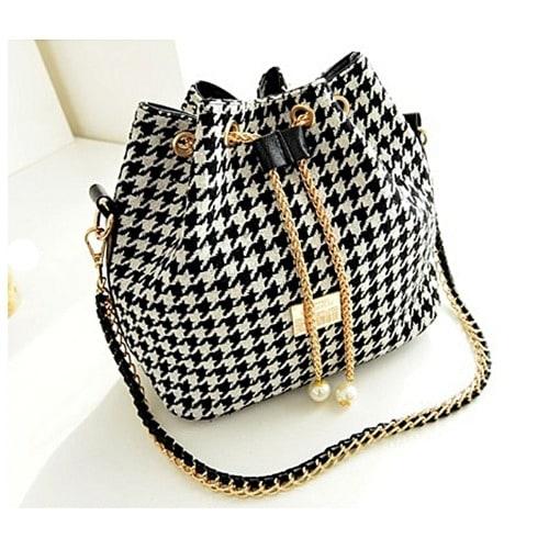 Ladies' Bucket Pearl Shoulder Messenger Handbag - Multicolor.
