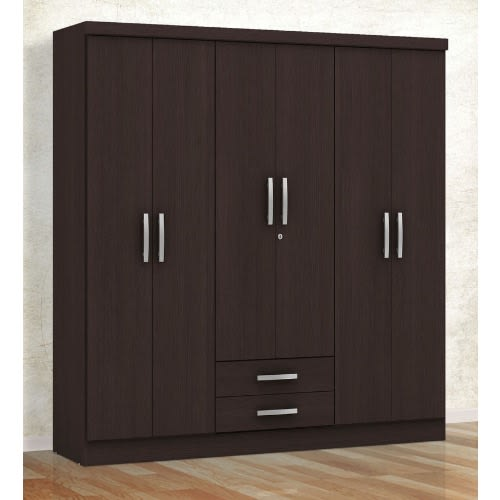 Six Door Wardrobe With Two Drawers - Brown