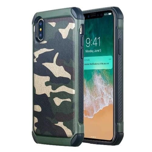 low priced 0ac9d c2f2b Camo Back Case For Apple Iphone X & Tempered Glass Screen Protector