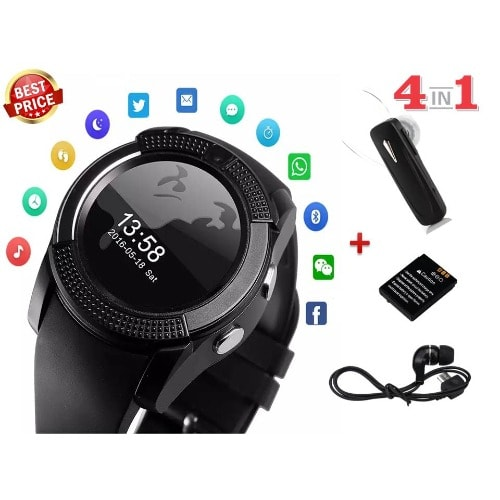 V8 Smartwatch Phone with Bluetooth Headset + Micro USB Earphone & Extra  Battery - Black