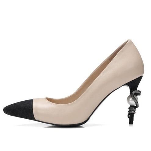 23e9b98928b Women's Pointed Toe High Heel Pumps Shoes - Black & Beige