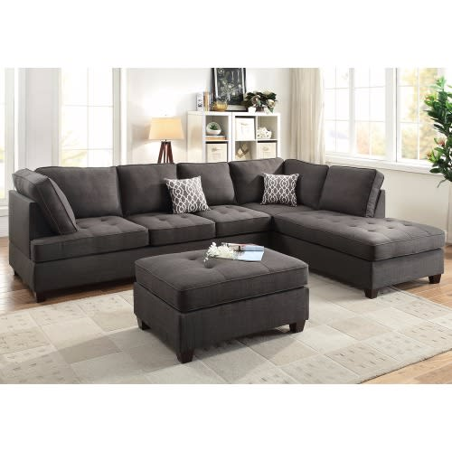 Contemporary Sectional Sofa Chaise With Ottoman