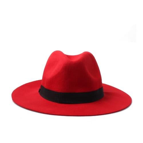 Brim Wool Fedora Hat - Red  18b190565e9