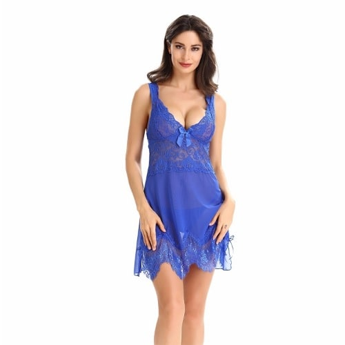 82df3475be08 Ladies Sexy Night Wear With G String - Blue