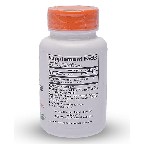High Potency Serrapeptase -- 120000 Spu - 90 Veggie Caps