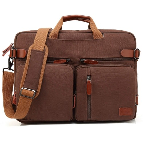 "17.3"" Convertible Backpack Messenger Business Bag (CB-5005) – Canvas Dark Coffee"
