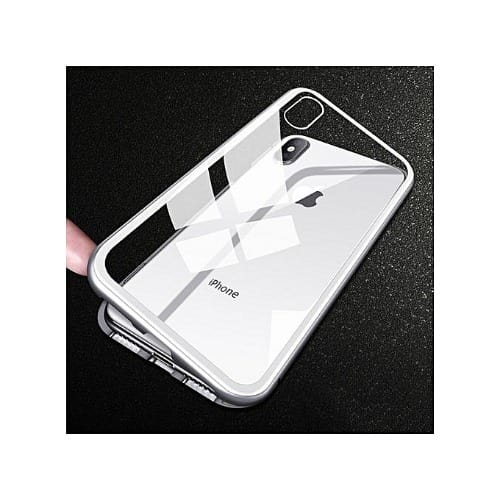 new concept 6b2d6 50877 Metal Magnetic Bumper Case For iPhone X Cases Slim Tempered Glass Cover