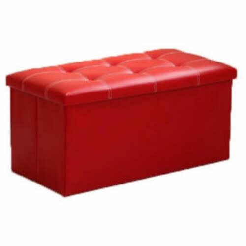 Wondrous Large Red Leather Ottoman Storage Box Machost Co Dining Chair Design Ideas Machostcouk