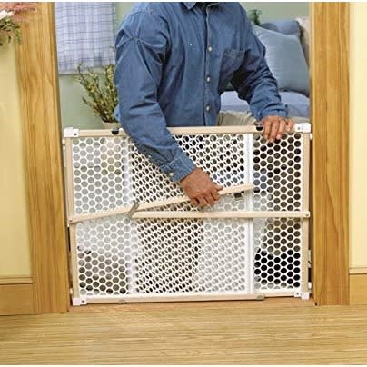 2 In 1 Position & Lock Pressure Mount Gate, Beige Wood