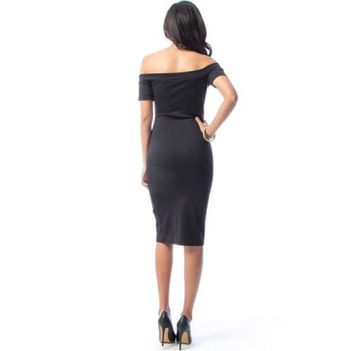 9cabe824ff89 Off Shoulder Midi Button Down Dress - Black   Konga Online Shopping