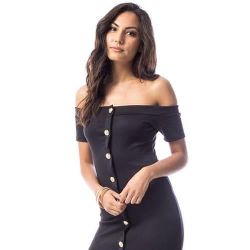 d912230f2045 Off Shoulder Midi Button Down Dress - Black