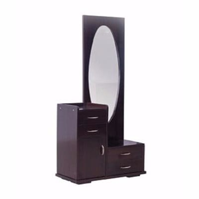 Oval Design Dressing Mirror with Drawer- Brown