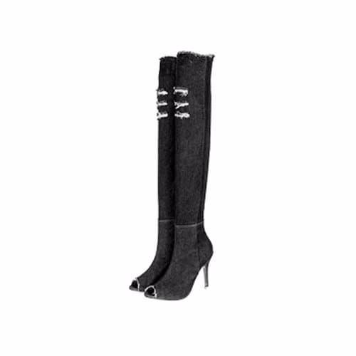 8ab7002e450 Over The Knee Thigh High Denim High Heel Boots - Black