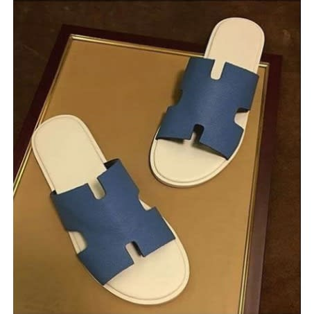 Men's Leather H-cut Palm Pam Slippers - Blue.