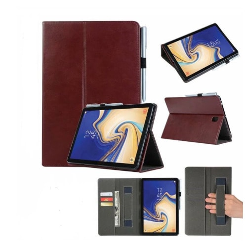 Pure Leather Case With Pen Holder For Samsung Galaxy Tab S4 - Brown