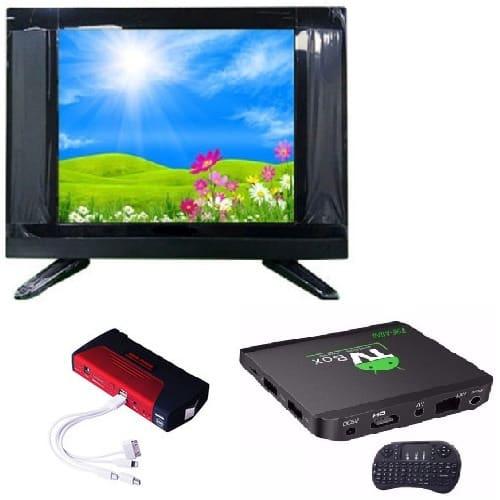 "22"" LED AC DC TV + Powerbank + Android Smart TV Box"