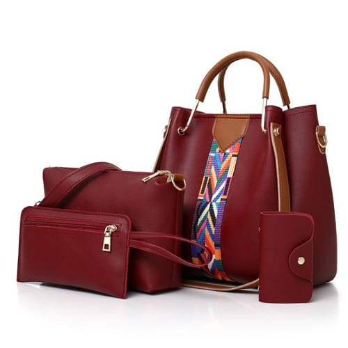 Women's PU Leather  Handbag - Set Of 4 - Red