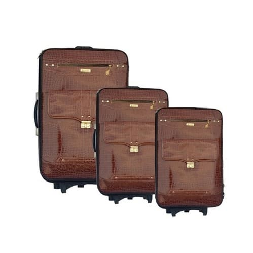 877ff7792 Swiss Polo Trolley Travel Leather Luggage Set - Brown - 3 Pieces ...