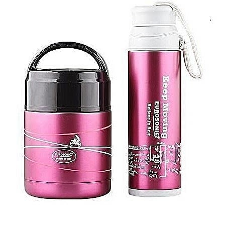 Food Flask And Water Flask Combo - Pink