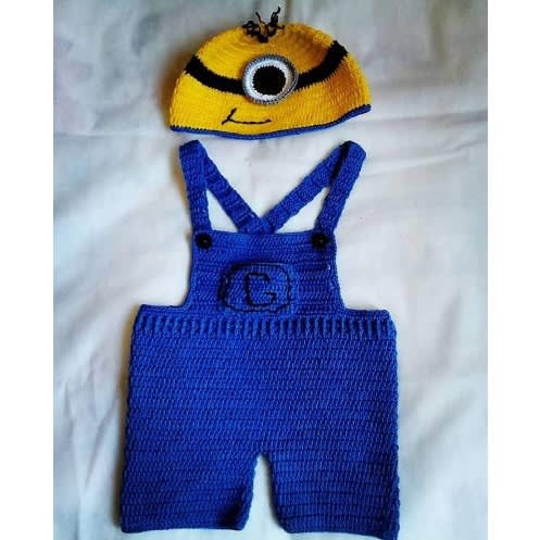 Handcrafted Minion Inspired Crochet Baby Boy Dungarees And Hat Set