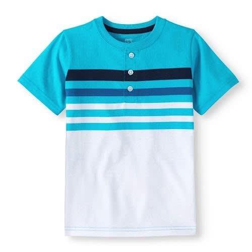 d350dabb0 Garanimals 365 Kids Chest Striped Henley Boys T-shirt Top-blue ...