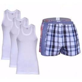 2cd750d15291 Victan Pack Of 3 Boxers & Pack of 3 Singlets for Men - 6-in-1 ...