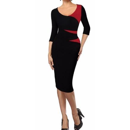 /P/a/Patchwork-O-Neck-3-4-Sleeve-Pencil-Dress--Red-6110974_4.jpg