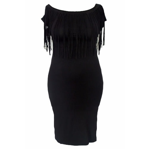 Plain Black Short Sleeve Fringe Top Plus Size Dress