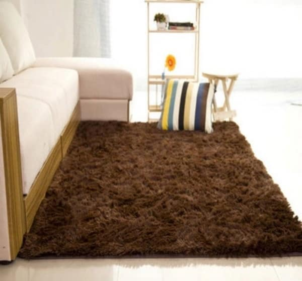 Plain Shaggy Center Rug 120 X 160cm Coffee Brown Konga Online