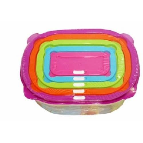 Plastic Storage Bowls with Lids - Multicolour - 5 Pieces