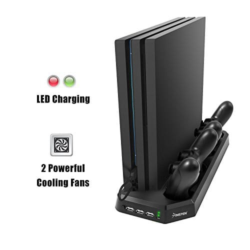 Play Station 4 Pro Cooling Fan Vertical Stand Dual Controllers Charging Dock