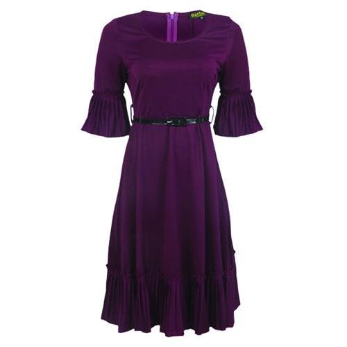 1b1570b38ecc Barbara Pleated Midi Dress With Belt - Purple