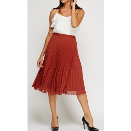 32e57472c9 Top Shop Pleated Sheer Midi Skirt - Brick Red   Konga Online Shopping
