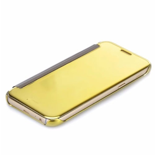 low priced 4f6a8 719b0 Prime Mirror Clear View Protective Flip Case for Samsung Galaxy J7 -Gold