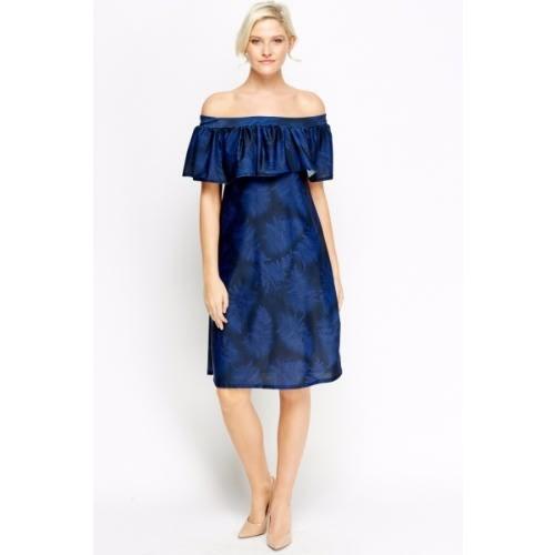 7f9928b99b402b Print Off Shoulder Dress - Navy Blue