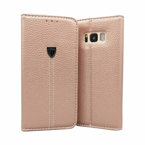 the latest 064e1 8ad37 Pure Leather Magnetic Flip Wallet Case for Samsung Galaxy S6 Edge Plus -  Rose Gold