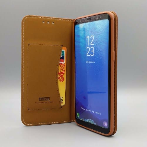 new concept 1dd9e 40b1d Pure Leather Magnetic Flip Wallet Case for Samsung Galaxy S7 Edge - Brown