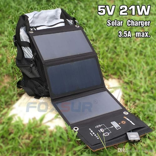 Solar Charger Power Bank + Solar Panel Foldable Mobile