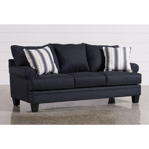 O2 3 Seater Fabric Sofa - Black