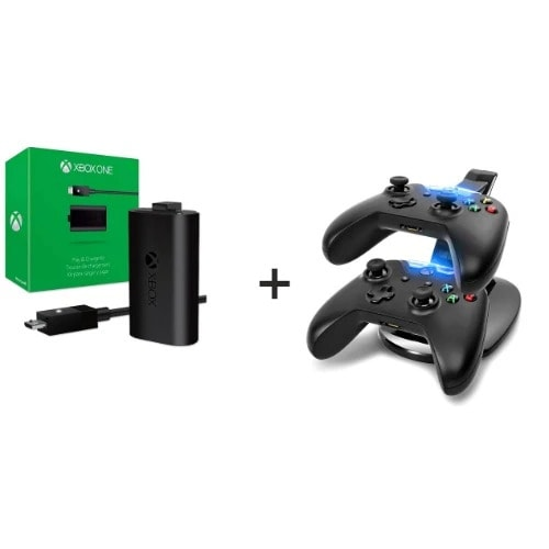 Xbox One Play & Charge Kit + Free Charging Dock Station Charger Controller
