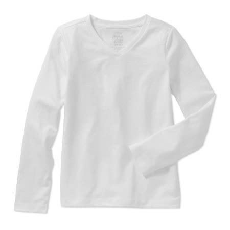 712eb7bf07e2 Faded Glory Girls' Long Sleeve V-Neck T-Shirt - White | Konga Online ...